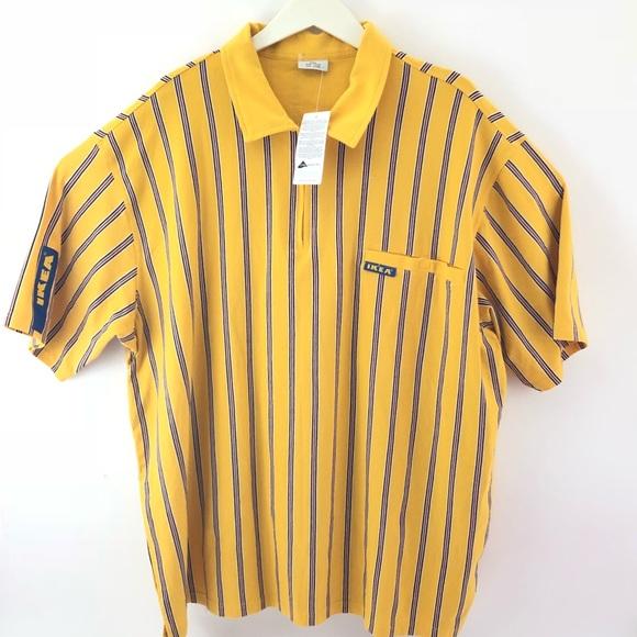 6e68f3cee87f IKEA Pinstripe polo zip up shirt